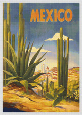 Mexico - Cactus Travel Poster - Cross Stitch Pattern