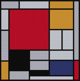 Composition with Red, Yellow, Blue and Black Cross Stitch Pattern - Piet Mondrian