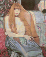 Woman Combing Her Hair Cross Stitch Pattern - Louis Anquetin