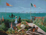 Garden at Sainte-Adresse Cross Stitch Pattern - Claude Monet