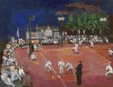 Baseball at Night Cross Stitch Pattern - Morris Kantor