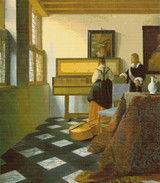 The Music Lesson Cross Stitch Chart - Johannes Vermeer