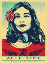 We the People - Defend Dignity Cross Stitch Pattern - Shepard Fairey