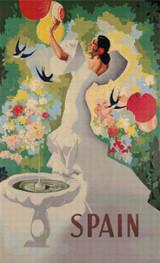 Spanish Garden Travel Poster Cross Stitch Pattern