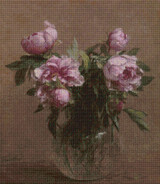 Vase of Peonies Cross Stitch Pattern - Henri Fantin-Latour