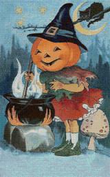 Pumpkin Witch Cross Stitch Pattern