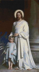 Christ Blessing the Little Child Cross Stitch Pattern - Carl Bloch