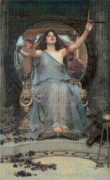 Circe Offering the Cup to Odysseus Cross Stitch Pattern - John William Waterhouse
