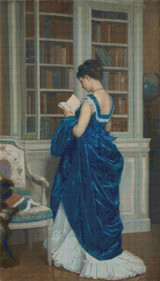 In the Library Cross Stitch Pattern - Auguste Toulmouche