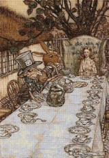 A Mad Tea Party Cross Stitch Pattern - Arthur Rackham