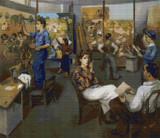 Artists on WPA Cross Stitch Pattern - Moses Soyer
