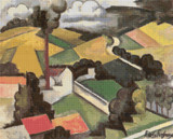 The Factory Chimney, Meulan Landscape Cross Stitch Pattern - Roger de la Fresnaye