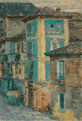 Street Scene, Spain Cross Stitch Pattern - Childe Hassam