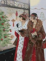 Women Window Shopping for Christmas Cross Stitch Pattern