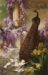 A Peacock and Doves in a Garden Cross Stitch Pattern - Eugene Bidau