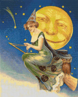 Beautiful Witch Riding Through the Night Cross Stitch Pattern