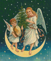 Angels on the Moon Cross Stitch Pattern