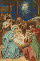 Scene at the Manger Cross Stitch Pattern