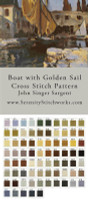 Boat with the Golden Sail Cross Stitch Pattern - John Singer Sargent