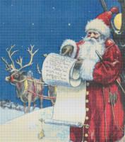 Santa Checking His List Cross Stitch Pattern