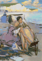 Paul Dombey and Florence on the Beach at Brighton Cross Stitch Chart - Jessie Willcox Smith