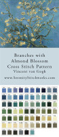 Branches with Almond Blossom Cross Stitch Pattern - Vincent van Gogh