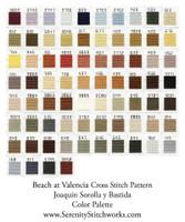 Beach at Valencia Cross Stitch Pattern - Joaquin Sorolla y  Bastida