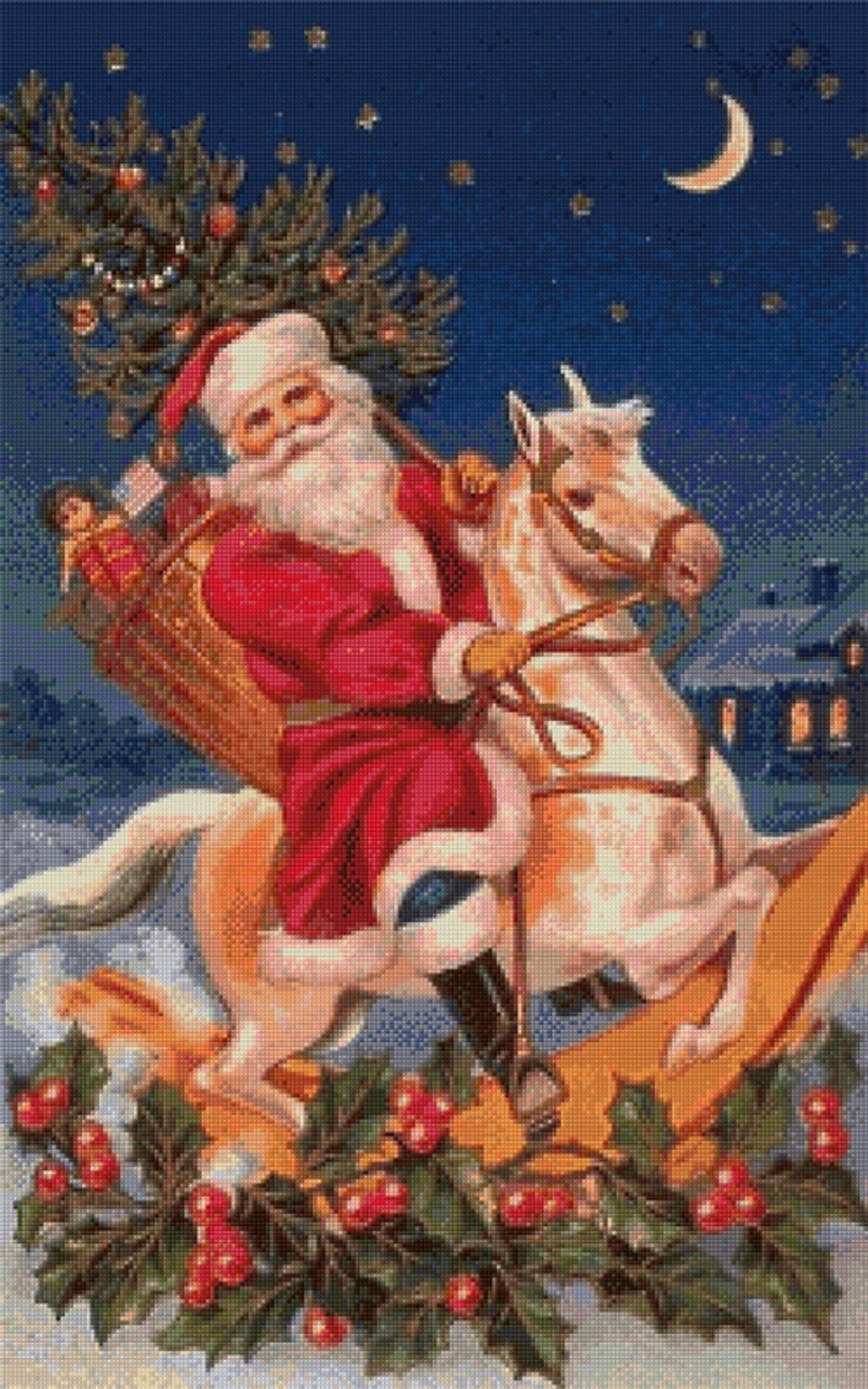 Santa On A Rocking Horse Cross Stitch Pattern Vintage Illustration Vintage Postcard