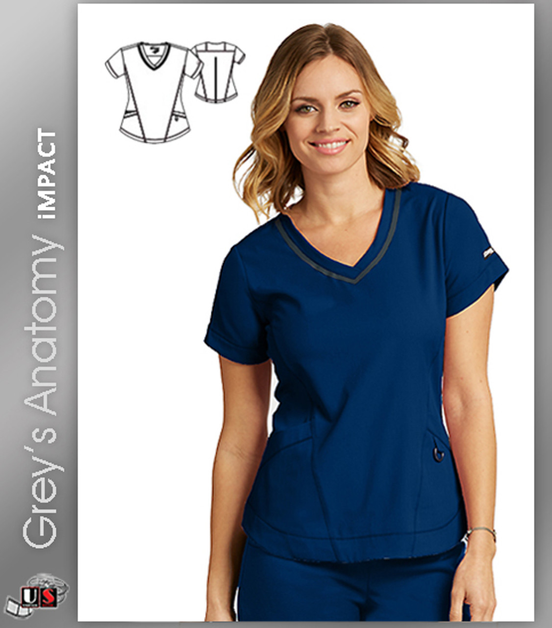 c0c151afe62 Grey's Anatomy™ iMPACT Women's Seamed V-Neck Solid Scrub Top - Dental  Supplies,Inc