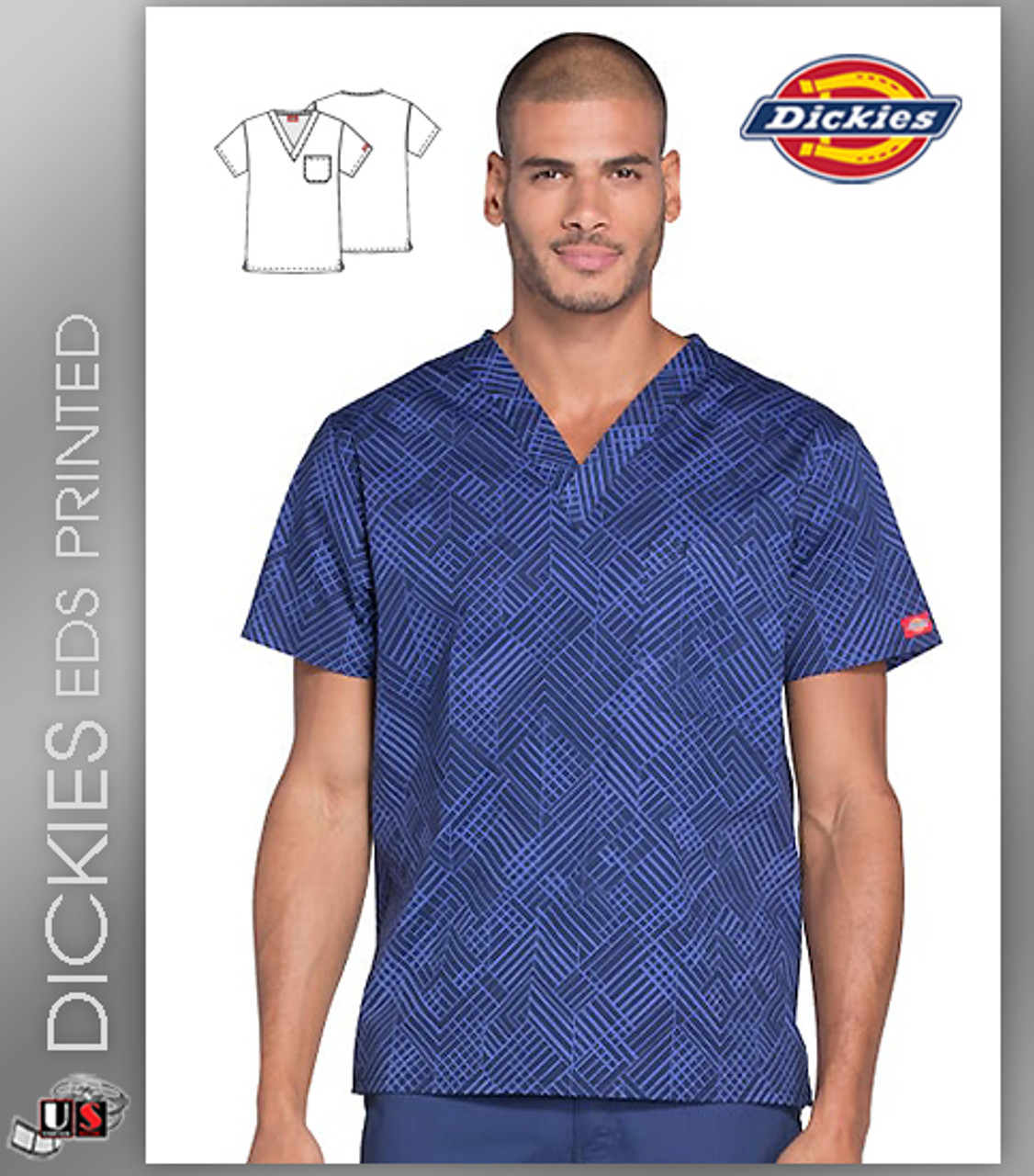 62c2a2ac226f6c Dickies EDS Signature Men's V-Neck What's Your Point? Print Scrub Top -  Dental Supplies,Inc