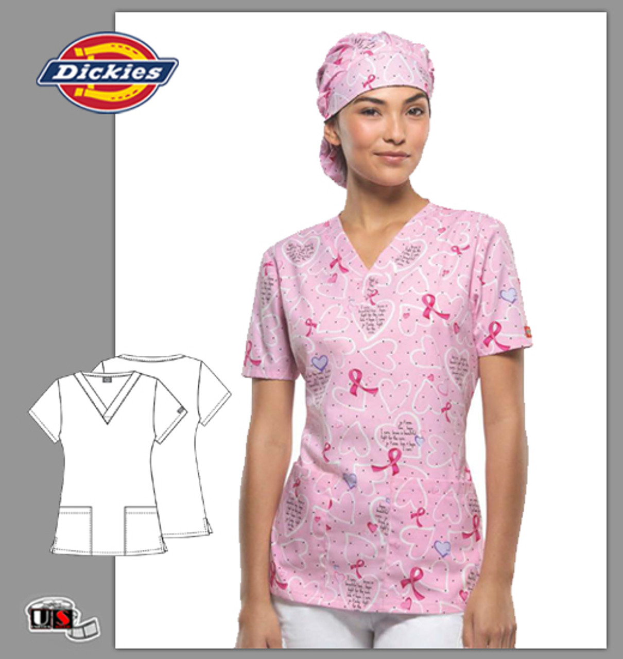 94120a83546 Dickies BCA Brave is Beautiful Printed V-Neck Top - Dental Supplies,Inc