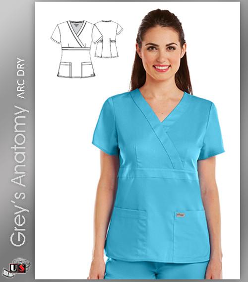 d4b05d8baa4 Grey's Anatomy Arc Dry 3 Pocket Mock Wrap Scrub Top - Dental ...