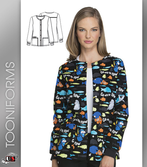 30f92f0094e Cherokee Tooniforms Go With The Flow Snap Front Warm-Up Jacket ...