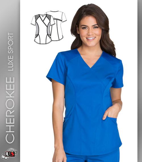 03f4b26a48f Cherokee Luxe Sport Women's V-Neck Short Sleeve Mock Wrap Top ...
