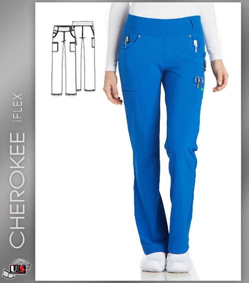 4cf51c72c69 Cherokee iflex Women's Mid Rise Straight Leg Pull-On Pant - Dental ...