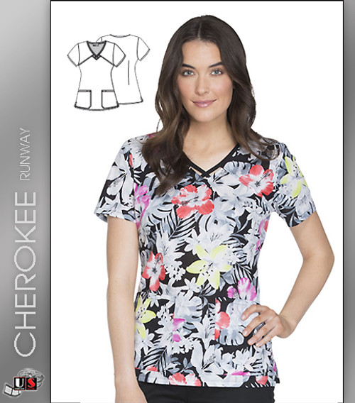 8bfb7610ed9 Cherokee Runway Women's Fall Fantasy Print V-Neck Scrub Top - Dental ...