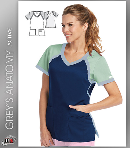 ecd63363896 ... Top · Grey's Anatomy Active 3 Pocket Color Block Cross Over V-Neck ...