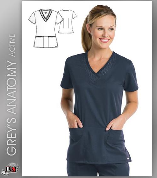 ef6b763f727 Greys Anatomy Active 3 Pocket V-Neck Scrub Top - SVT Steel - Dental ...