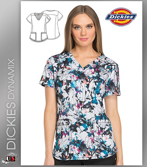 66e11581f54 Dickies Dynamix Abstract Print Women's V-Neck Top - Dental Supplies,Inc