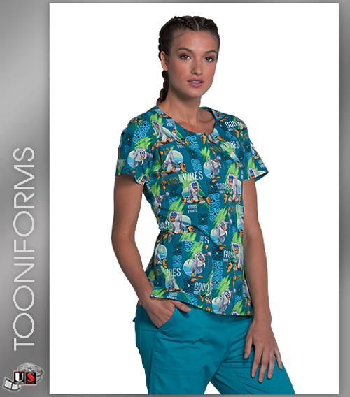 c504e128613 Cherokee Tooniforms Good Vibes Print Women's Round Neck Scrub Top ...