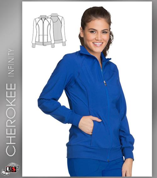 a3a5deecdf5 Cherokee INFINITY Women's Zip Front Warm-Up Solid Scrub Jacket ...