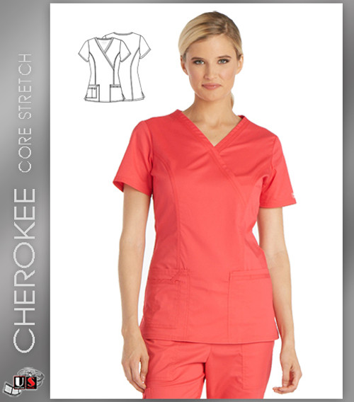 796f63ccdfc Cherokee Core Stretch Workwear Women's Solid Mock Wrap Scrub Top ...