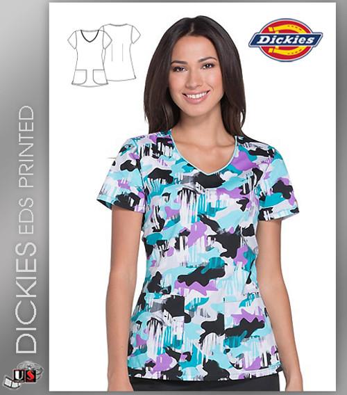 3209f7ca78416 Dickies EDS Signature Women's Causing A Camo-tion Print V-Neck Scrub ...