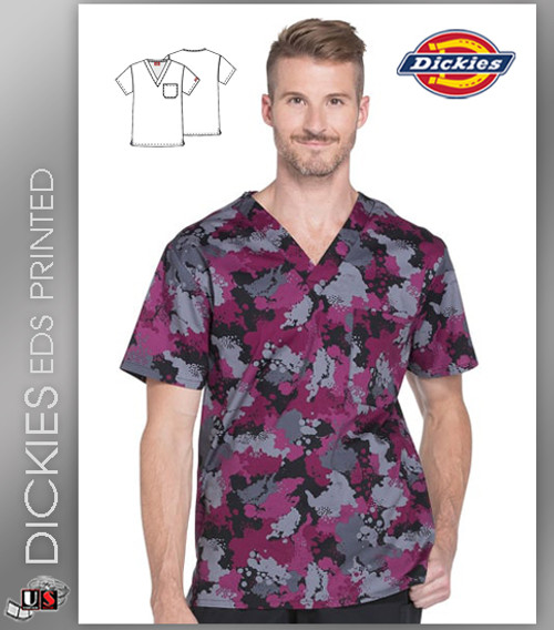 ada6873041676a Dickies EDS Signature Men's V-Neck You Are Spot On Print Scrub Top ...