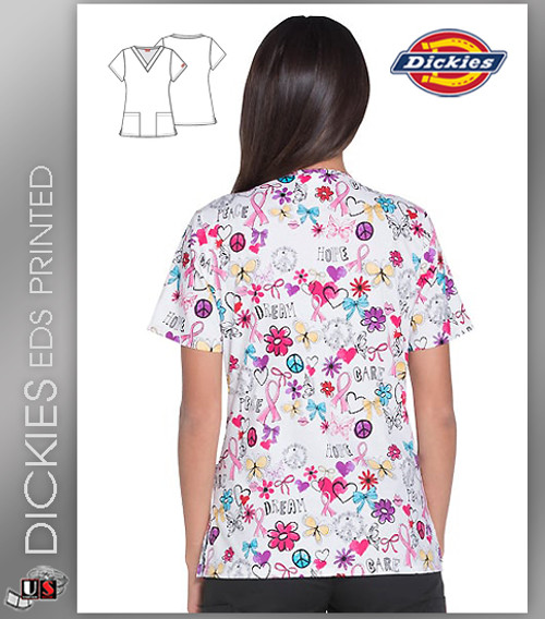 16126bc12d6 ... Dickies EDS Signature Women's Dare To Dream Print V-Neck Scrub Top