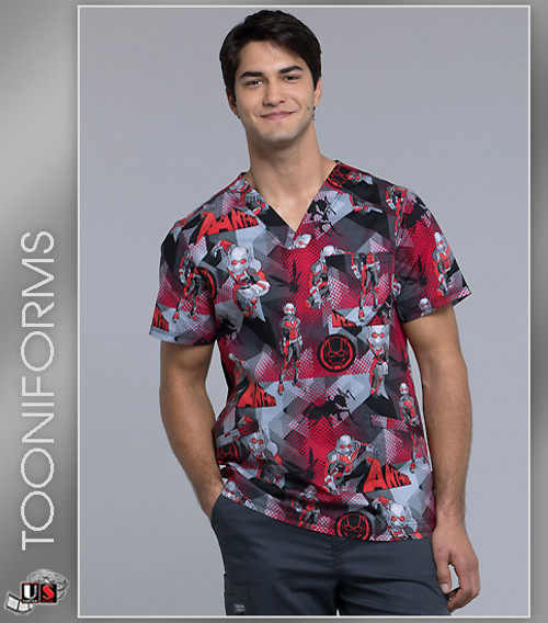 9e1e22c4eec Cherokee Tooniforms Men's Ant-Man Print V-Neck Top - Dental Supplies,Inc
