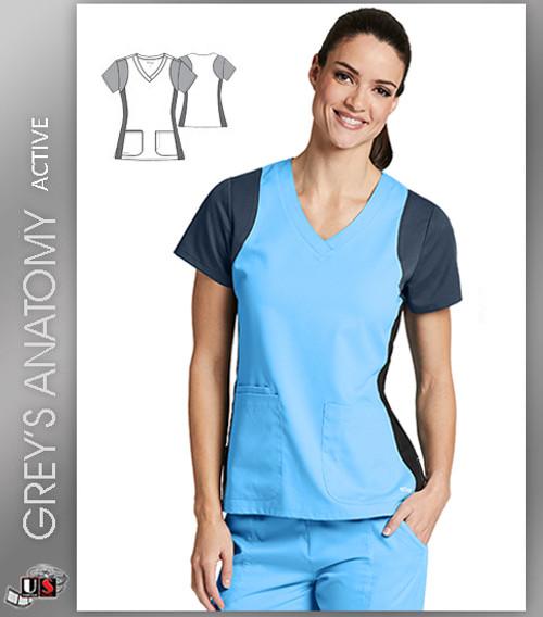 Grey s Anatomy Active Women s V-Neck Colorblock Racerback Solid Scrub Top -  ITB 23d6057c2979