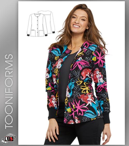 d8846cf6f31 Cherokee Tooniforms Women's Snap Front Ariel's Garden Print Scrub Jacket