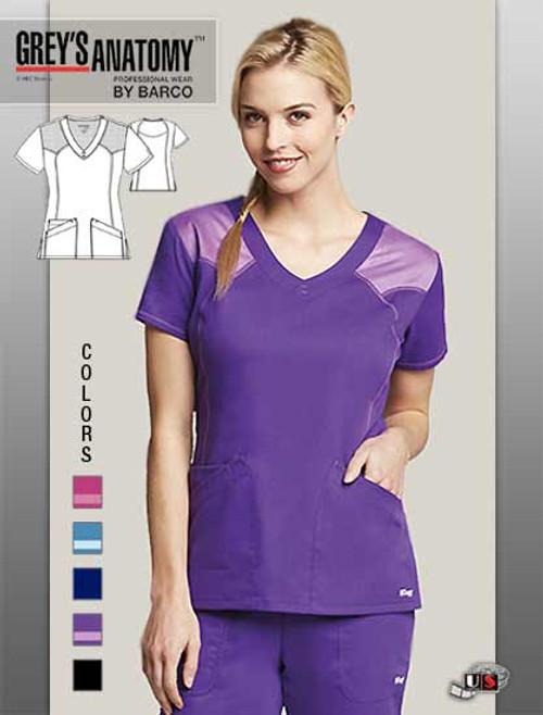 Grey s Anatomy Active Women s 2 Pocket V-Neck Mesh Scrub Top ... fce6ac5537a8