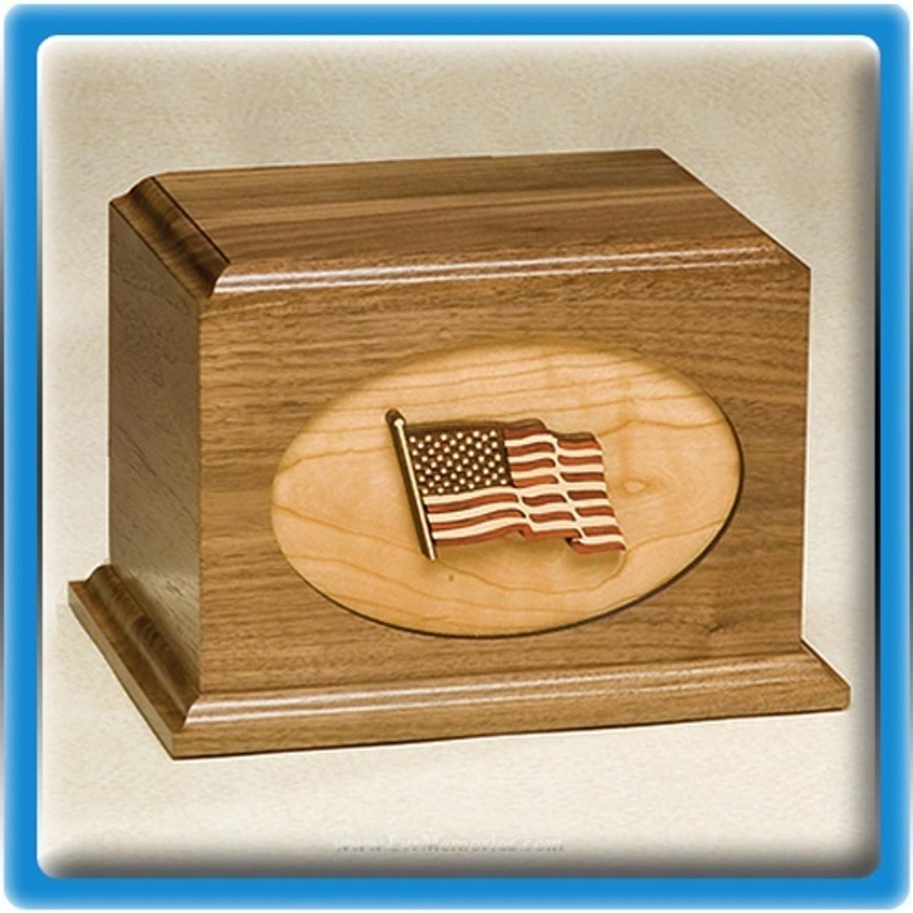 Waving Flag Walnut Wood Urn